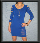 Blue 3/4 Sleeve Slashed Cut Effect Body Con Bandage Fitted Stretch Party Dress