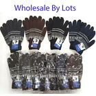 WHOLESALE LOT MEN'S WOMEN LARGE STRIPED MAGIC WINTER SNOW WARM KNITTED GLOVES
