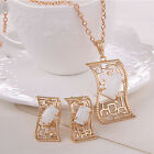 Hollow Rectangle Resin Women Wedding Party Earrings Necklace Jewelry Set Retro