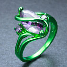 "Marquise Cut Blue Sapphire ""S"" Shape Party Ring Green Gold Filled New Sz 4-12"