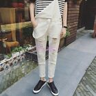 Vogue Ripped Hole Mens Overalls Suspender Trousers Slim Distress Pencil Pants