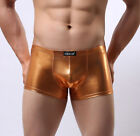 Mens Shiny Faux Leather Gold Lame Rocky Horror Hot Pants / Boxer Brief Trunks