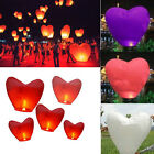 20pc Wish Chinese Lanterns Heart Shape Paper Sky Fire Lamp Wedding Party Holiday