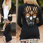 Women Black Long Sleeve Shirt Hollow Out Skull Backed Sweaters Cardigan abus