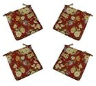 Set of 4 In / Outdoor Crimson Red Rose Floral Foam Chair Cushions - Choose Size