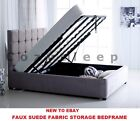 **New Stylish Cube Ottoman Storage Gas Lift Up Bed Frame In Faux Suede Fabric**