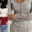 Women's Long Sleeve Blouse Casual Crewneck Lace Shirt Loose Tops T Shirt