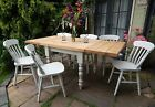 Extending 3ft - 6ft Rustic Farmhouse Kitchen Dining Set Table & Chairs Painted