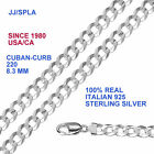 Sterling Silver Flat Cuban or Curb Chain 8.3 mm - Curb-220 Made In ITALY