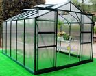 8' WIDE POLYCARBONATE GREENHOUSE - CLIP FREE GLAZING, GREEN, FREE BASE & ANCHORS