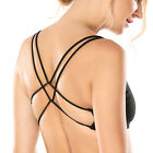 Women's Light Support Cross Strappy Open Back Cotton Yoga Sports Bra
