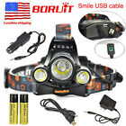 BORUiT 13000LM 3xXM-L2 LED Headlamp USB Headlight 2x18650 Lamp Torch Flashlight