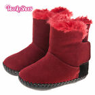 Girls Toddler - REAL Leather Soft Sole Baby Boots - Red