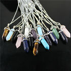 Natural Gemstones Hexagonal Prism Beads Healing Pointed Pendant Silver Necklace