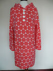 Boden Towelling Hoodie Tunic Dress In Pink Coral Circle Print *beach* Holiday!!