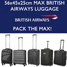 BRITISH AIRWAYS 56x45x25 MAX LARGE CABIN HAND CARRY LUGGAGE SUITCASE TRAVEL BAGS