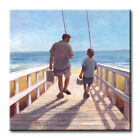 Father and Son To Fishing Art Tile Print on Ceramic with Hook or Felt Feet