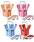 Fingey 24Pc Plastic Handle Cutlery Set Tableware Stainless Steel with Stand