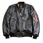 Neu Alpha Industries MA-1 VF PM Leather Leder Bomberjacke schwarz Nappa original
