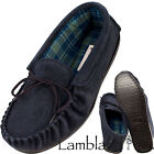 Lambland Mens Sheepskin Suede Moccasin Slippers with Hard Wearing Sole