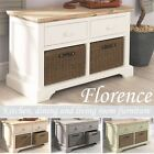 Florence storage bench, kitchen bench with storage baskets and drawers.ASSEMBLED