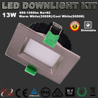 SQUARE LED DOWNLIGHTS KIT 13W DIMMABLE SATIN CHROME WARM OR COOL WHITE 5 YER WAR