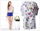 Women's Colorful Birds Chiffon Loose Party Short Sleeve T Shirt Tops Blouse #2