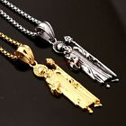 New Men's Jewelry Silver/Gold Stainless Steel Jesus Pendant Box Necklace Hot