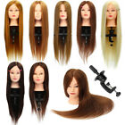 "26"" Long Real Hair Practice Training Mannequin Hairdressing Head + Clamp USA"