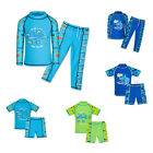Boys Shark Swim Training Swimsuit UV Rash Two Piece Bathing Bathers Top Pants