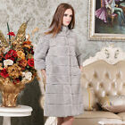 Women Elegant Stand Collar Real Rex Rabbit Fur Long Coat Jacket Outwear Perfect