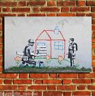 BANKSY EVICTION GRAFFITI CANVAS WALL ART BOX PRINT PICTURE SMALL/MEDIUM/LARGE