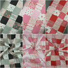 New 100% Cotton Fabric Patchwork Floral Pink Black Red Craft Dressmaking