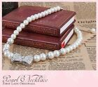 Fashion Charm Pearl for Children Chain Ribbon Pendant Necklace Jewelry Gift Mom