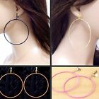 #E121E New Pair NON-PIERCING CLIP ON EARRINGS Dangle BIG 7CM Round Hoop Textured