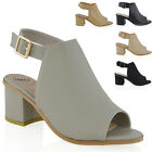 Womens Low Heel Peep Toe Buckle Mule Ladies Open Back Strap Ankle Shoe Boots