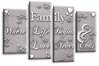 Family Quote Canvas Wall Art Picture Powder Grey Silver Black White Split Panel