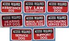 "ACCESS REQUIRED - service dog PATCH -  2"" x 4"" ---- Sew on or with hook back"