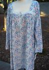 "XL Eileen West Long Sleeve Jersey Cotton Knit Short 38"" Night gown Garden Glow"