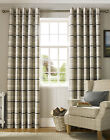York Eyelet heavy weight check design in a chenille fabric Curtains, Charcoal...