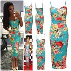 Womens Spring Floral Strappy Print Dress Crepe Flower Bodycon Midi Dress Celeb