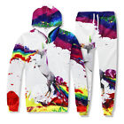 Men Women 3D Unicorn paint Print Hoodies Sweatshirt pants Tracksuit sweat suit