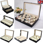 20/12/10/6  Slot Watch Box Leather Display Case Organizer Jewelry Storage Glass