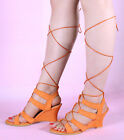 LACE UP GLADIATOR WEDGE LOW MID HEEL SANDALS ANKLE STRAP WEDGES SHOES