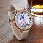 New Womens Ladies Rhinestone Butterfly Leather Analog Quartz Watches
