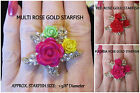 Crystal Starfish Rose Ring *COLOR OPTION* Gold Stretch Nautical Ring