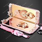 Luxury Bling Diamond Crystal Ring Holder Stand Plated Mirror Case Cover + Strap