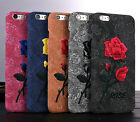 Ultra-thin Embroidery Rose Flowers Leather Cover Case For Apple iPhone 6S 7 Plus