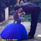 The New  Cinderella Wedding Formal Dress Princess Children Blue Fine Dress
