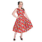 Hearts and Roses Red Floral Rockabilly Dress - Ladies H&R Vintage Party Clothing